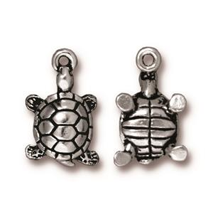 TierraCast Silver Plated Antiqued Turtle Charm (one charm)