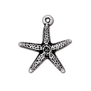 TierraCast Silver Plated Antiqued Seastar (Starfish) Charm (one charm)