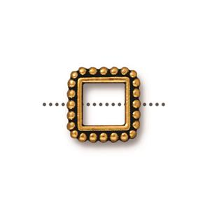0565 - TierraCast Antique Gold 11mm Fancy Square Bead Frame (Package of 1 frame)