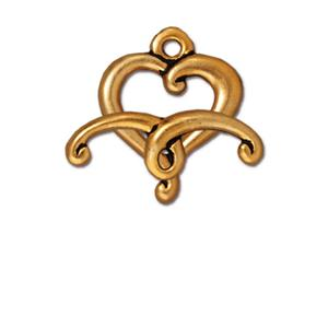0554-17 heart-gp Gold Plated Fancy Heart Toggle Clasp (Package of 1 clasp)