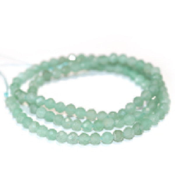 GAV4RD-F-DC Green Aventurine 4mm Faceted Diamond Cut Round package of 24 beads