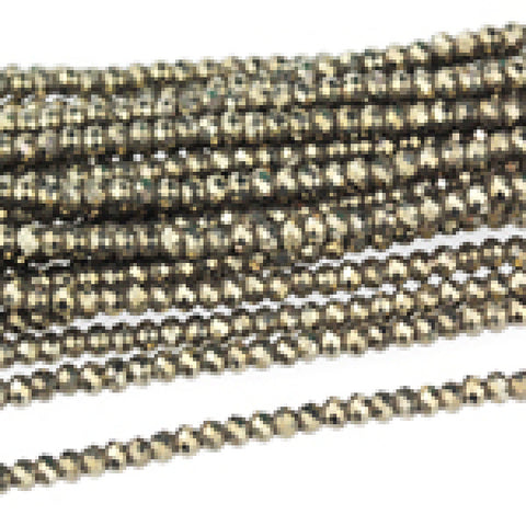 PYR2RL-F-AA Pyrite 2mm Faceted Rondelle Diamond Cut AA Grade package of 24 beads