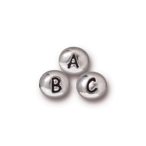 0902-65x6 Tierracast Antiqued Rhodium Plate 6.5x6mm Oval Alphabet Beads (Package of 1 bead)