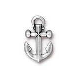 0580-anc-sp Silver Plated 20x12mm Anchor Charm (Package of 1 charm)