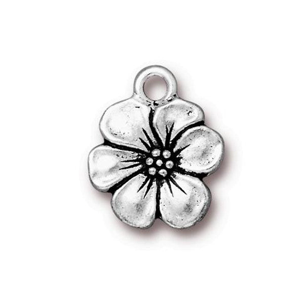 0585-app-Sp Silver Plated 17x14mm Apple Blossom Charm (Package of 1 charm)