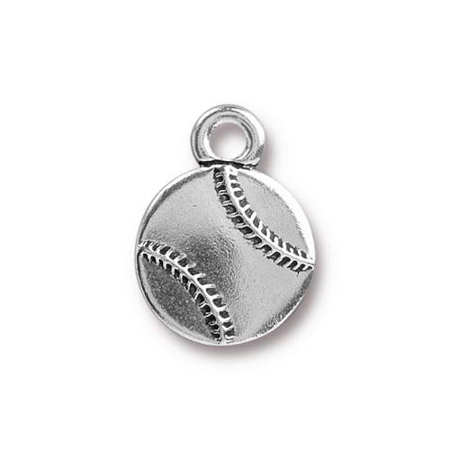 0576-base-sp Silver Plated Baseball Charm (Package of 1 Charm)