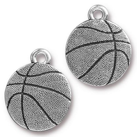 0576-basket-sp Silver Plated Basketball Charm (Package of 1 Charm)