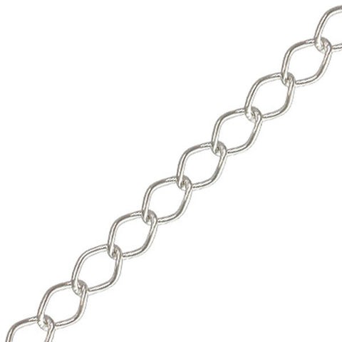 0805-chain-005 Silver Plated Curb Chain- Unfinished (Package of 3 feet of chain)