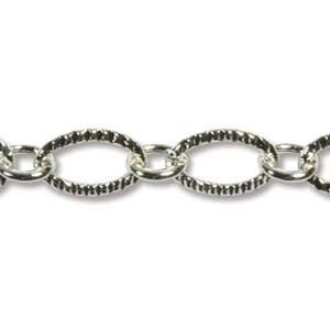 0805-chain-002 Silver Plated Textured Oval Link Chain - Unfinished (Package of 3 feet of chain)