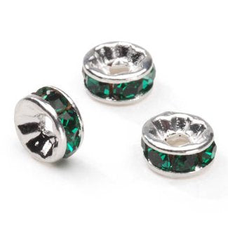 0822r-6-eme Swarovski Rhodium Silver Plated Emerald 6mm Round Rondelles (Package of 4 beads)
