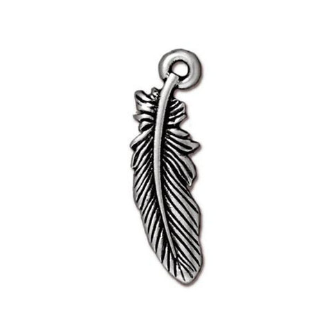 0582-fea-sp TierraCast Silver Plated 23x7mm Feather Charm (Package of 1 charm)