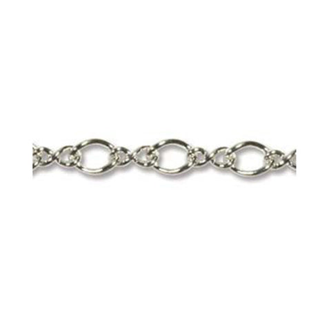 0805-chain-001 Silver Plated Figure 8 Chain - Unfinished (Package of 3 feet of chain)
