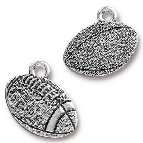 0576-foot Silver Plated Football Charm (Package of 1 Charm)