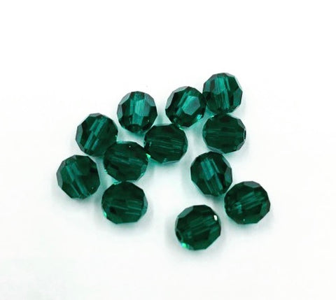 5000-6-mm Swarovski Crystal 6mm Round Emerald Beads (Package of 12 Beads)