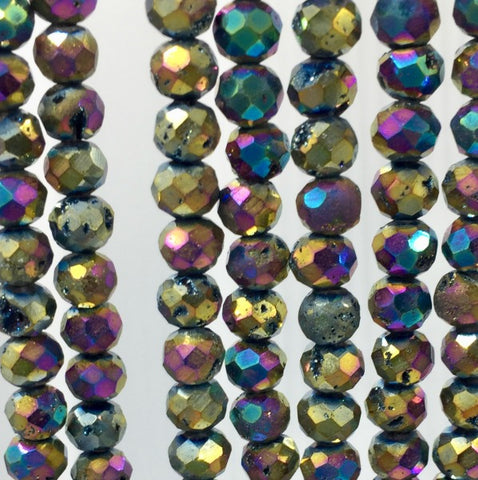 DAR6FR8 - Dakota Stone Druzy Agate Rainbow 6mm Faceted Round (17 beads per package