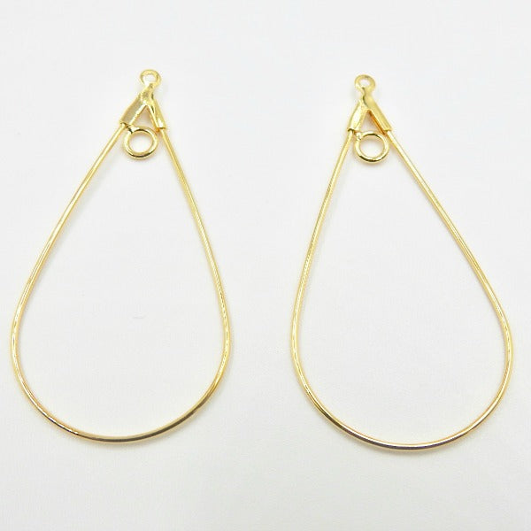 0710-comp-002 Gold Plated 40x22mm Smooth Teardrop Beading Hoops (Package of 2 Hoops)