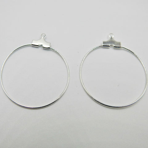 0710-comp-003 Silver Plated 30mm Smooth Round Beading Hoops (Package of 2 Hoops)