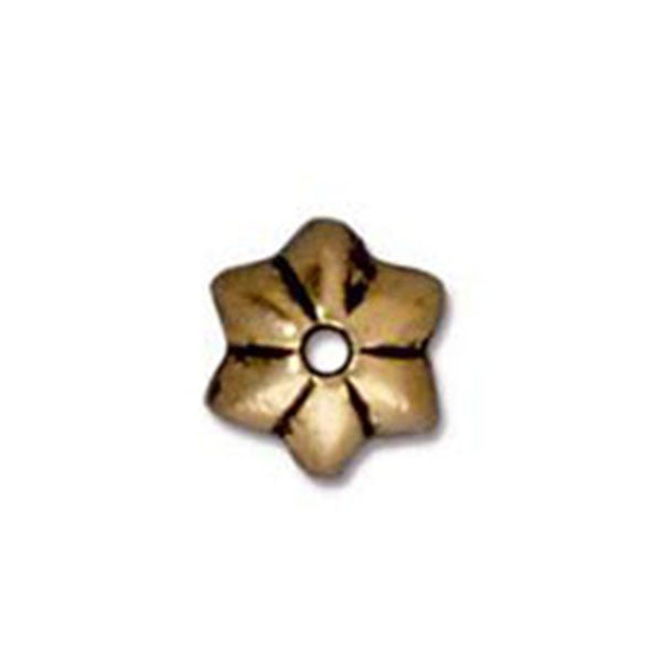 0535-5-gol 5mm TierraCast Gold Plated Talavera Star Bead Cap (Package of 4 bead caps)