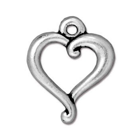 0580-hea-sp Silver Plated Heart Charm (Package of 1 Charm)