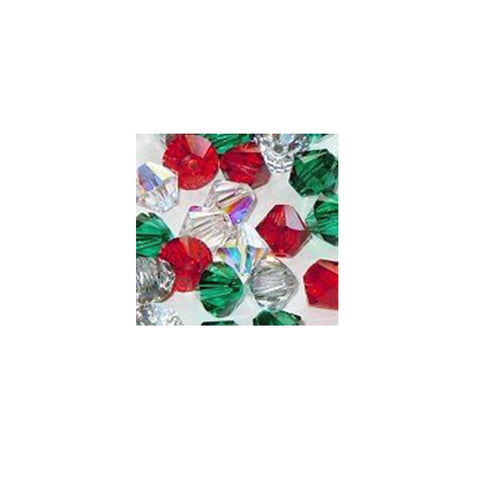5301 / 5328-6/mix-holi Swarovski Crystal 6mm Bicone Bead Mix (05) - Holiday Colors (Package of 24 Beads)