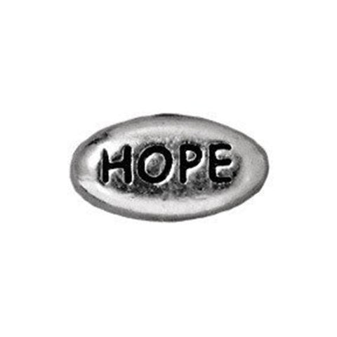 0902-hope-sp Tierracast Bright Rhodium Silver 11x6mm Oval Message Bead - HOPE (Package of 1 bead)