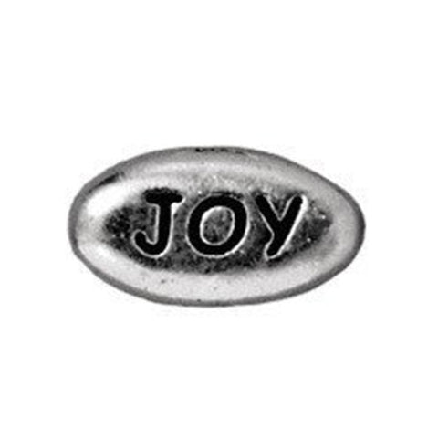 0902-joy-sp Tierracast Bright Rhodium Silver 11x6mm Oval Message Bead - JOY (Package of 1 bead)