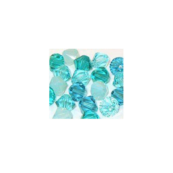 5301 / 5328-4/mix-ocb Swarovski Crystal 4mm Bicone Bead Mix (04) - Ocean Blues (Package of 48 Beads)