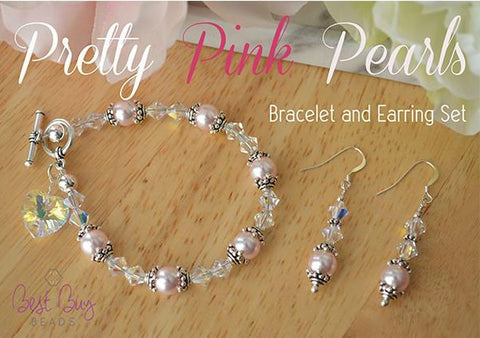 Pretty Pink Pearl Bracelet and Earring Kit