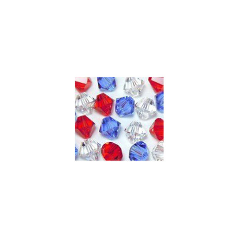 5301 / 5328-4-mix-rwb Swarovski Crystal 4mm Bicone Bead Mix (06) - Red, White and Blue (Package of 48 Beads)