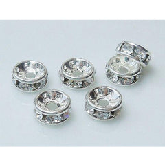 0822r-6-sp Rhodium Silver Plated Clear Crystal 6mm Round Rondelles (Package of 4 Beads)