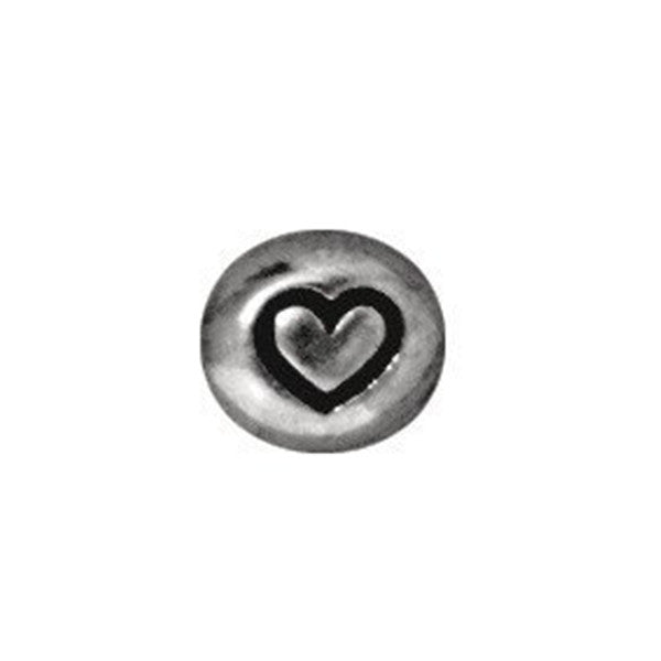 0902-heart-sp Tierracast Bright Rhodium Silver 6mm Round Heart Bead - HEART (Package of 1 bead)