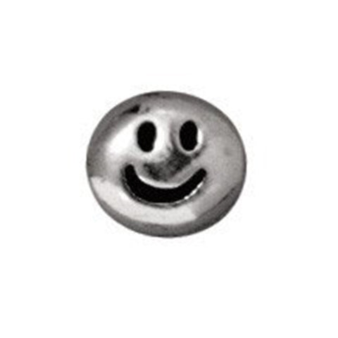0902-smile-sp Tierracast Bright Rhodium Silver 6mm Round Smile Bead - SMILE (Package of 1 bead)
