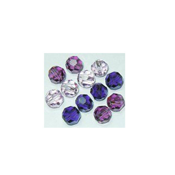5000-6-mix-prpl Swarovski Crystal 6mm Round Bead Mix (06) - Shades of Purples (Package of 12 Beads)