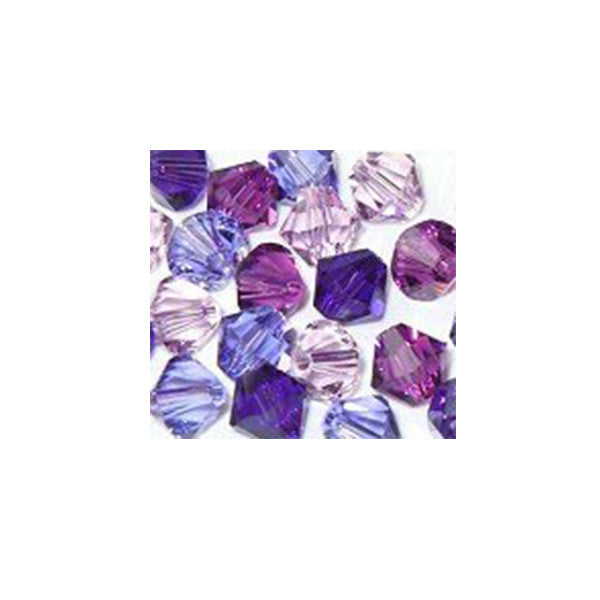 5301 / 5328-6/mix-prpl Swarovski Crystal 6mm Bicone Bead Mix (09) - Shades of Purples (Package of 24 Beads)