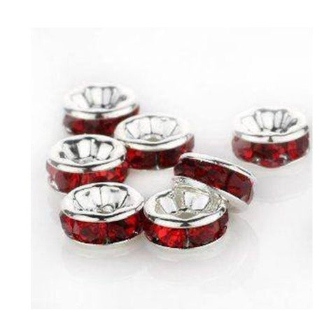 0822r-6-ssal Swarovski Rhodium Silver Plated Scarlet 6mm Round Rondelles (Package of 4 beads)
