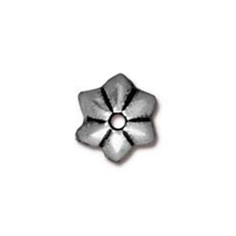0535-5-sp 5mm TierraCast Silver Plated Talavera Star Bead Cap (Package of 4 bead caps)