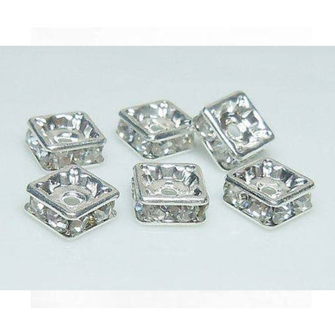 0831-7-sp Swarovski Rhodium Silver Plated Clear Crystal 7mm Squaredelles (Package of 4 Beads)