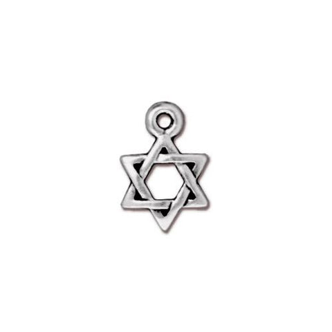 0580-star-sp Silver Plated Star of David Charm (Package of 1 Charm)
