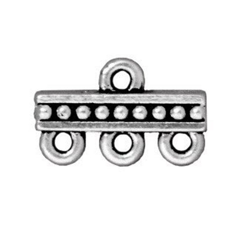 0803-link2-sp Silver Plated 15x9mm 3-Strand Link Connector (Package of 2 connectors)