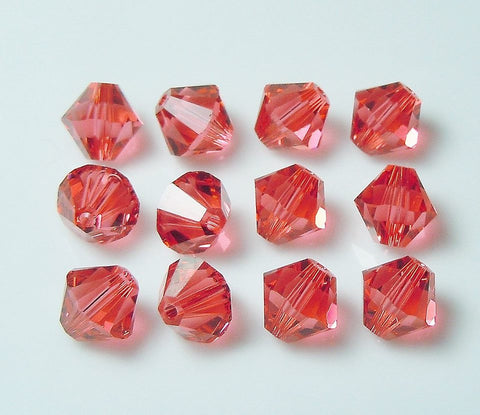 5301 / 5328-4-pa Swarovski Crystal 4mm Bicone Padparadscha Beads (Package of 48 Beads)