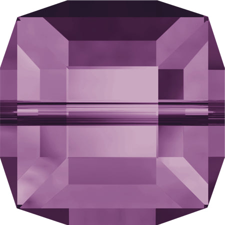 5601-6-am Swarovski Crystal 6mm Amethyst Cube Beads (Package of 6 Beads)