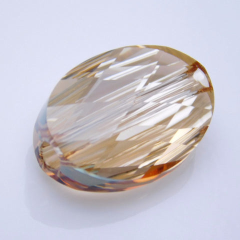 5050-14-cr-gs Swarovski Crystal 14x10mm Faceted Oval Crystal Golden Shadow Bead (Package of 1 Bead)
