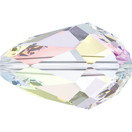 5500-10x7-cr-ab Swarovski Crystal 10.5mm x 7mm Pear Shaped Crystal AB Beads (Package of 4 Beads)