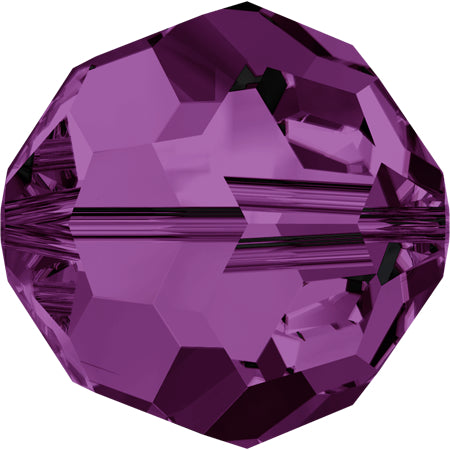 5000-6-am Swarovski Crystal 6mm Round Amethyst Beads (Package of 12 Beads)