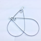 0710-comp-001 Silver Plated 40x22mm Smooth Teardrop Beading Hoops (Package of 2 Hoops)