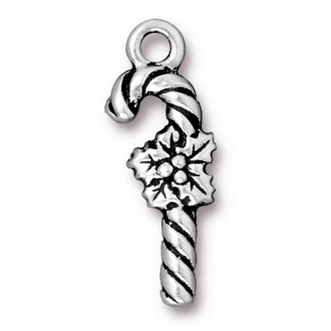 0579-candy-sp Silver Plated Candy Cane Charm (Package of 1 Charm)