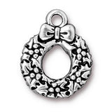 0579-wreath-sp Silver Plated Wreath Charm (Package of 1 Charm)