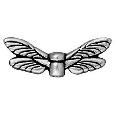 0581-df6x19-sp Silver Plated Dragonfly Wings Bead (Package of 2 beads)