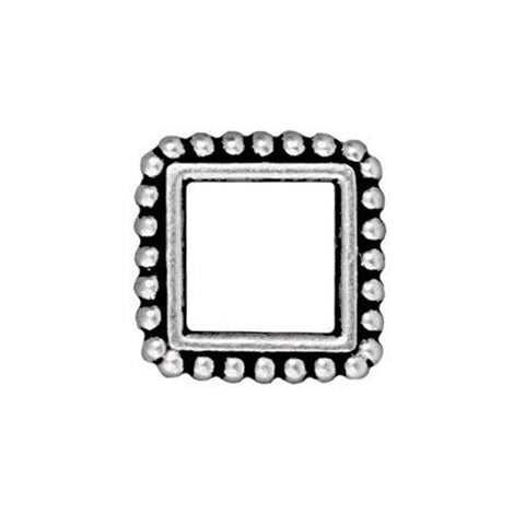 0565-13sq-sp Silver Plated 13.5mm Fancy Square Bead Frame (Package of 1 frame)