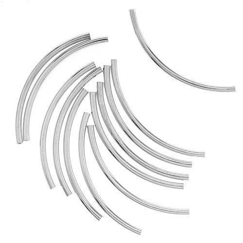 0511-38-sp Sterling Plated Curved 38mm Tube Beads (Package of 10 beads)
